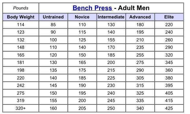barbell strength standards